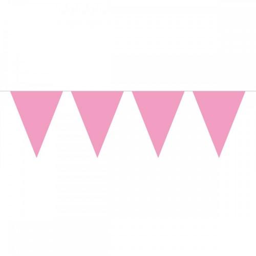 Vlaggenlijn Effen roze 10mtr