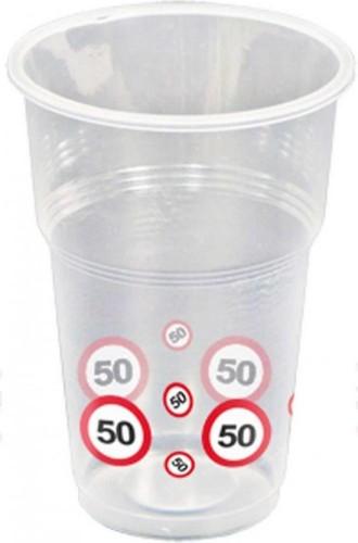 Bekers verkeersbord 50, 350 ml, 10 stuks