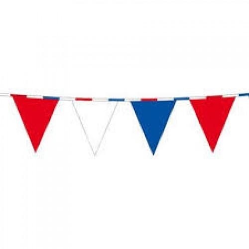 Vlaggenlijn rood-wit-blauw met rood-wit-blauw lint 10 meter