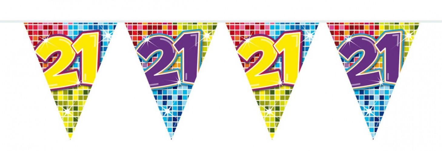 Vlaggenlijn mini Birthday Blocks 21 jaar, 3 mtr