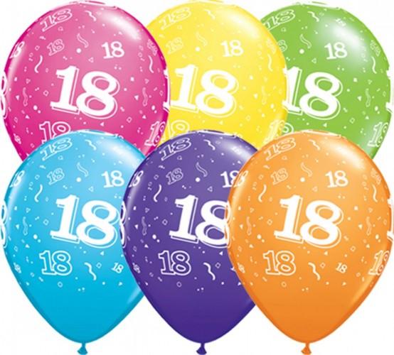 Ballonnen 18 jaar assorti 28 cm, 25 stuks