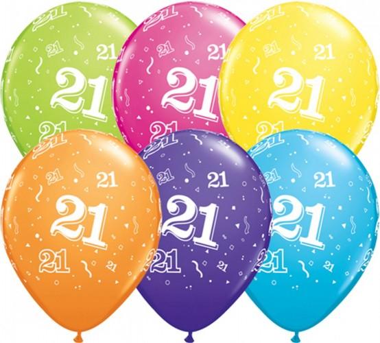 Ballonnen 21 jaar assorti 28 cm, 25 stuks