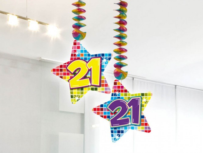 Hangdecoratie Birthday Blocks 21 2 stuks