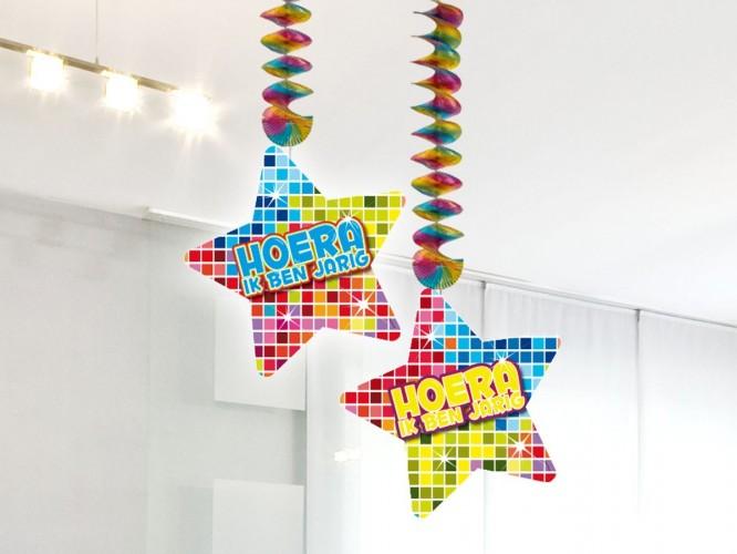 Hangdecoratie Birthday Blocks Hoera ik ben jarig 2 stuks