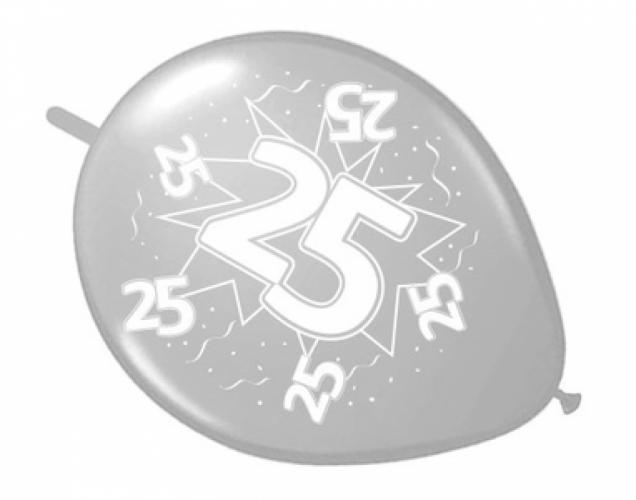 Knoopballonnen zilver 25 8 stuks