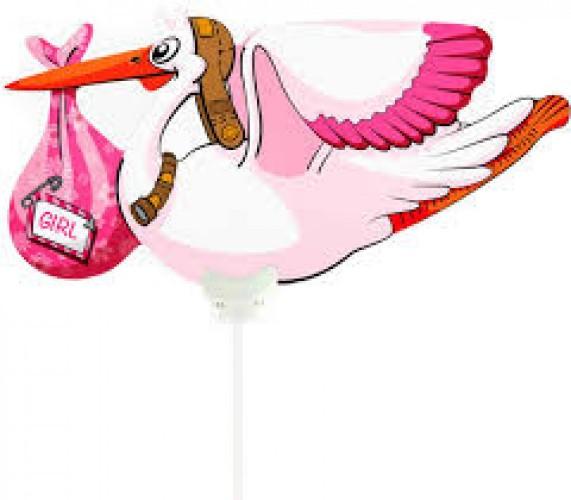 Folie ballon Ooievaar meisje 77 x 52 cm