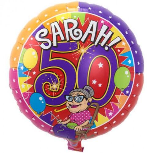 Sarah 50 jaar Knalfeest folieballon 43cm