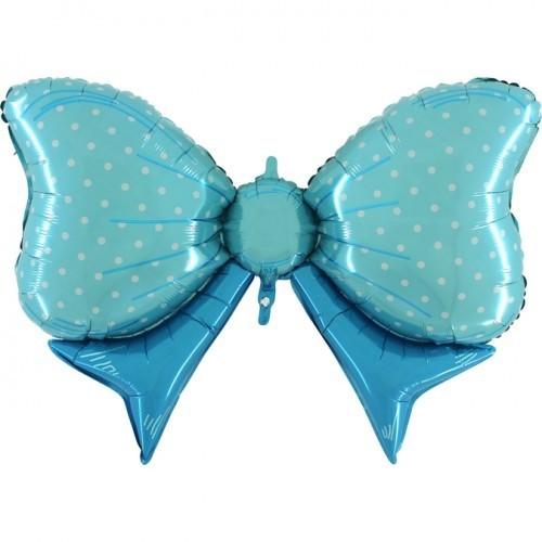 Folieballon vlinderstrik blauw 109 cm